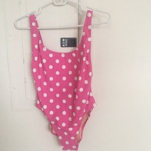 Jcrew Pink And White Dot Bathing Suit